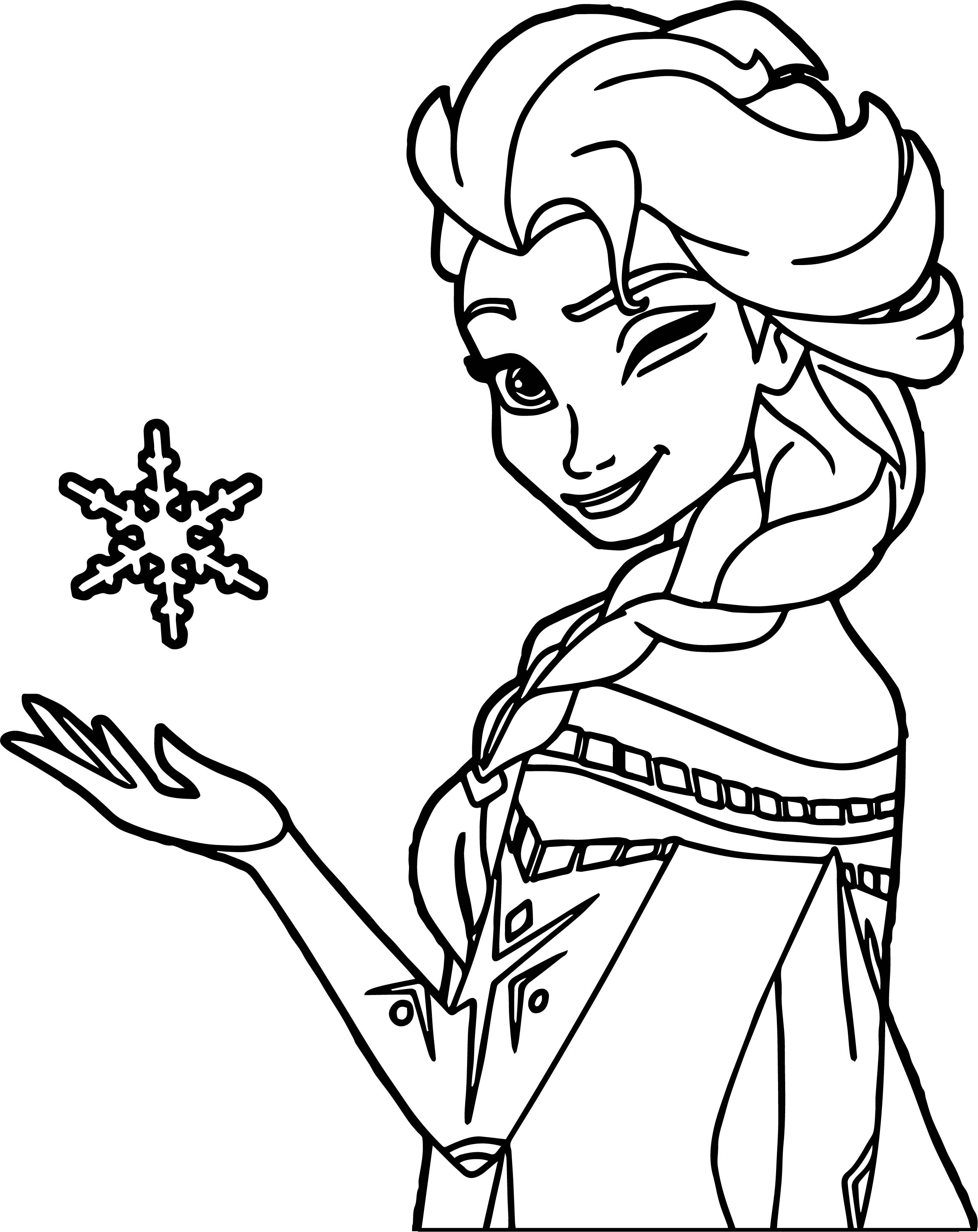 Elsa Winking Coloring Page Wecoloringpage