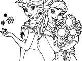 Frozen Fever And Anna Snow And Flower Coloring Page
