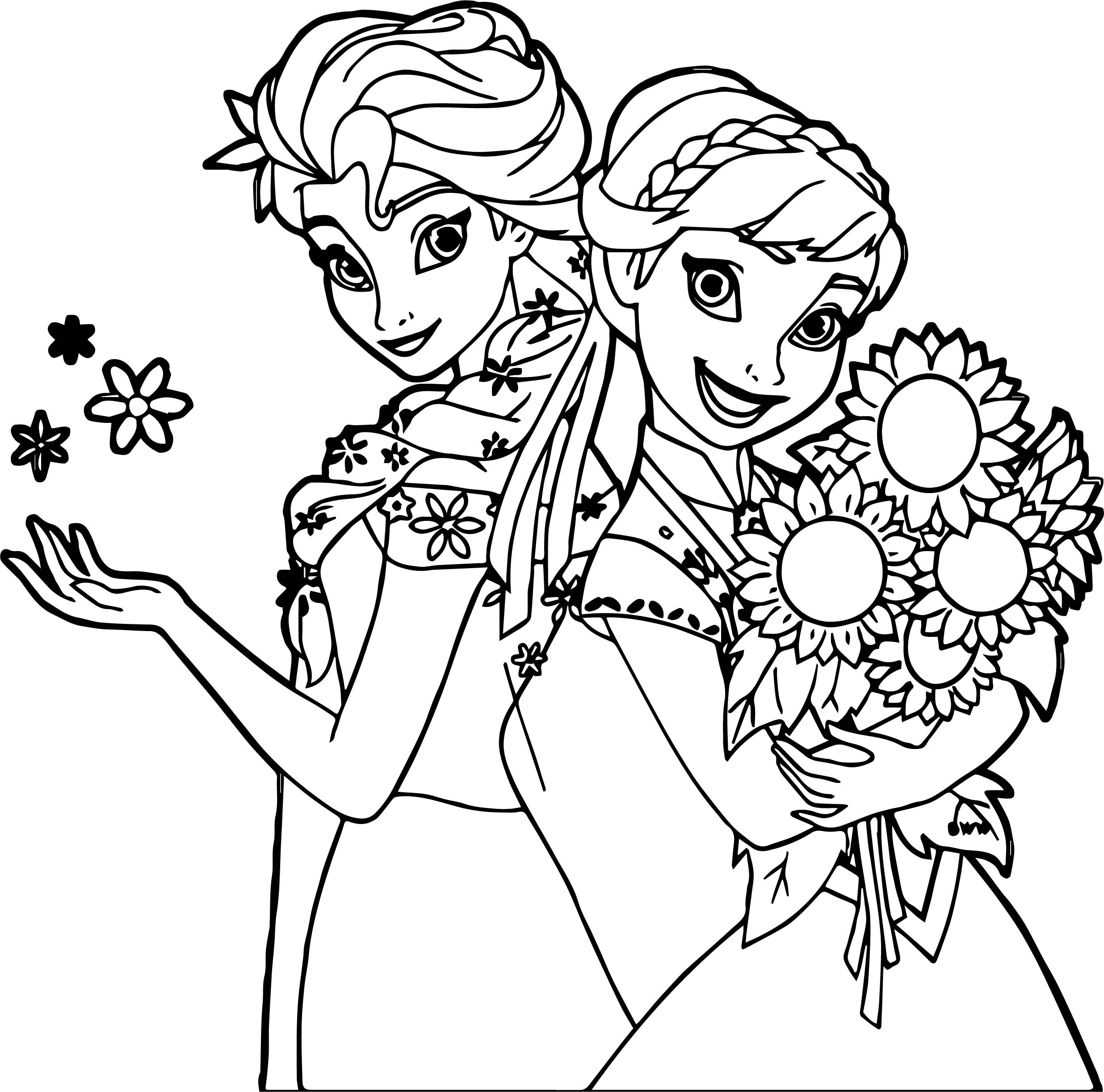 frozen fever coloring pages - frozen fever and anna snow and flower coloring page