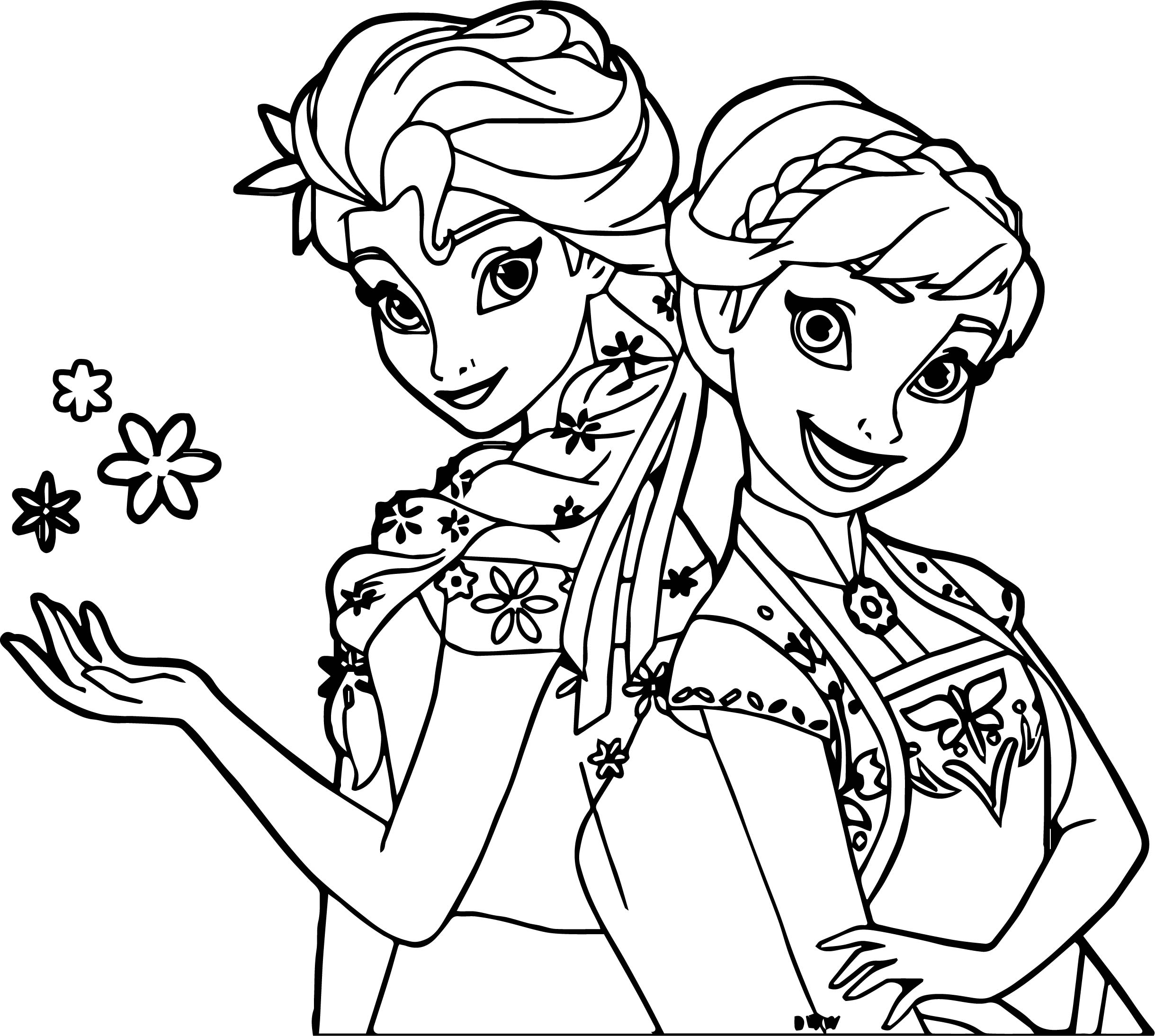 frozen fever and anna snow coloring page - Frozen Fever Coloring Pages