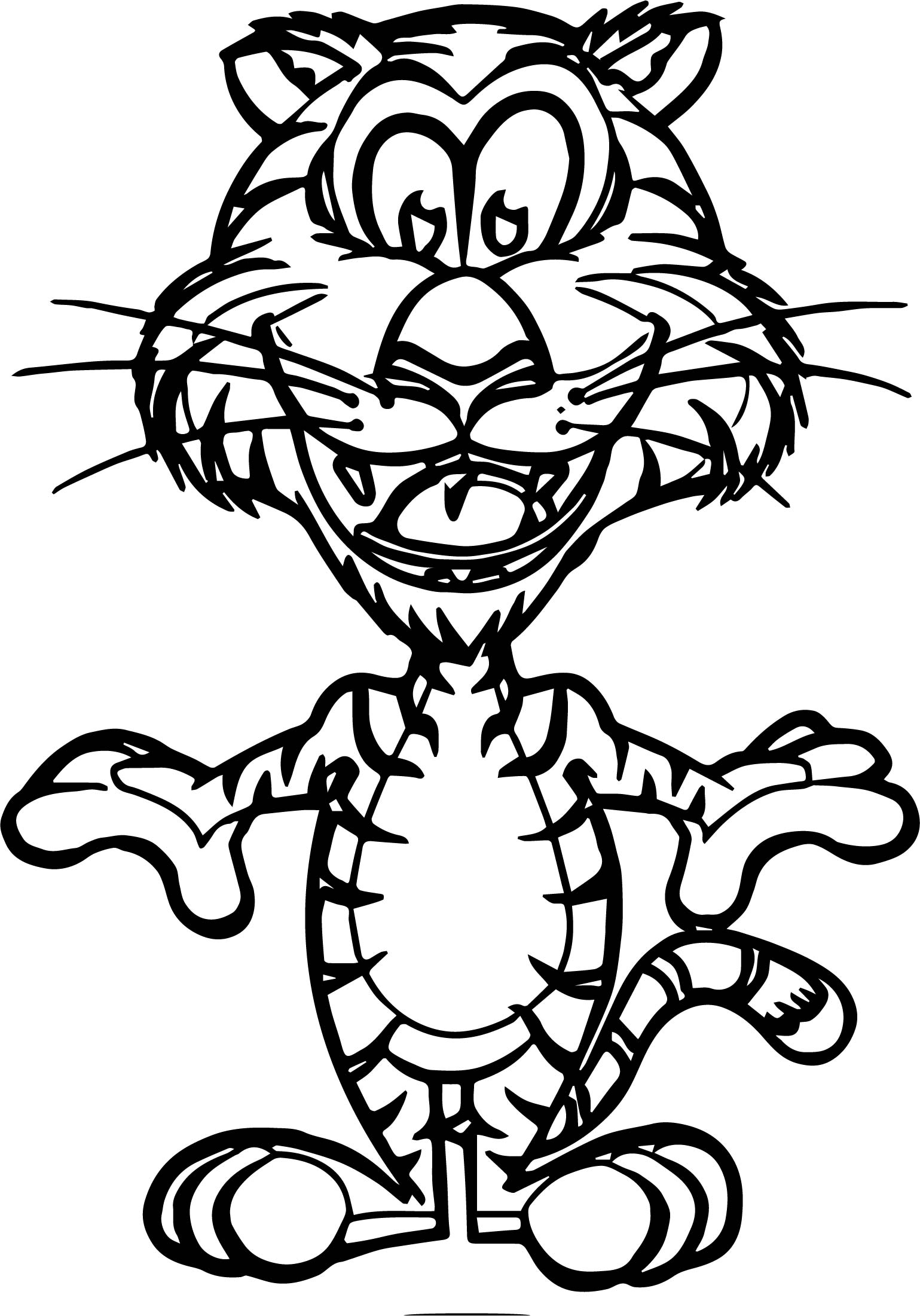 Funny Small Tiger Coloring Page