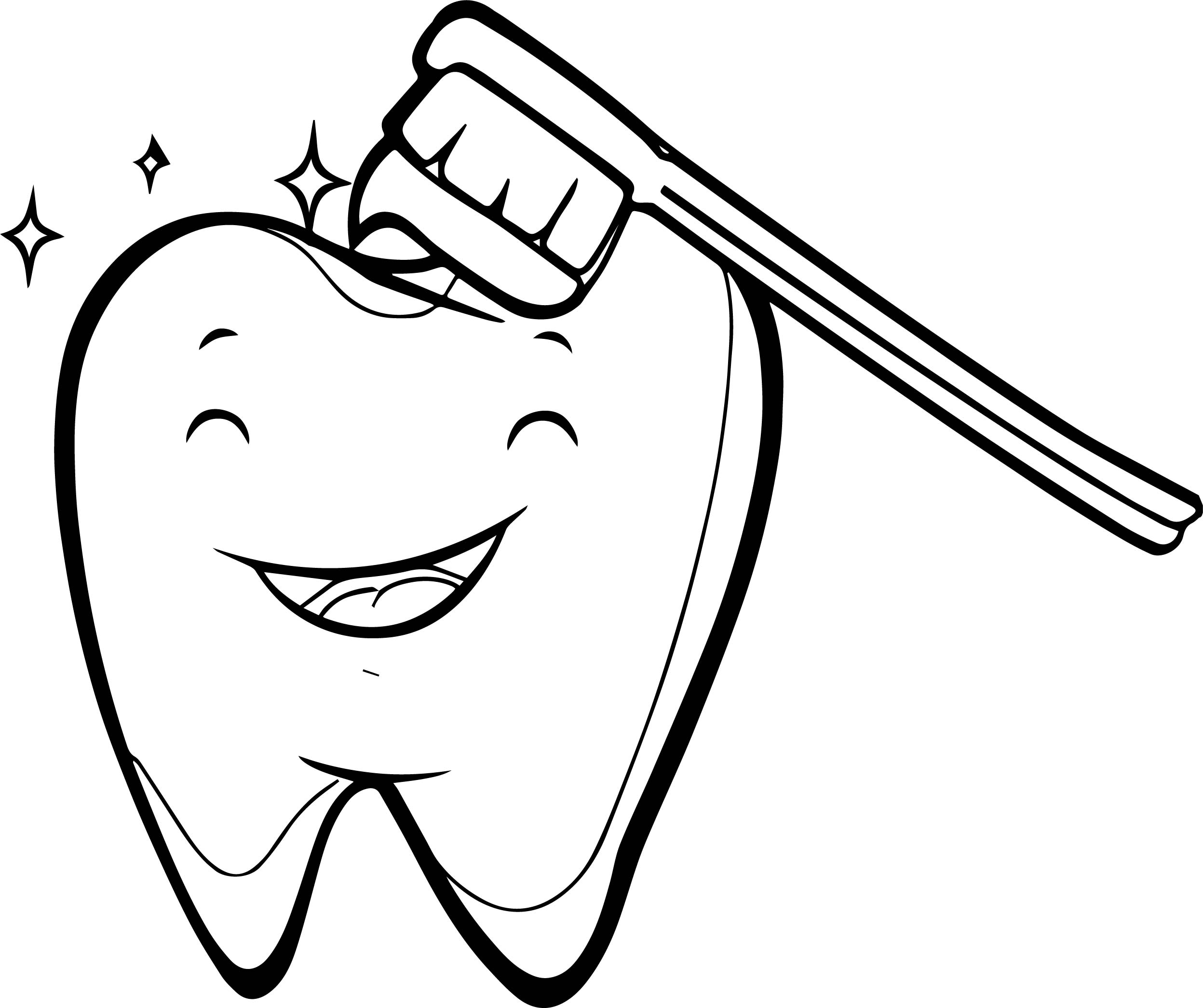 Happy tooth brush dental coloring page for Teeth coloring pages