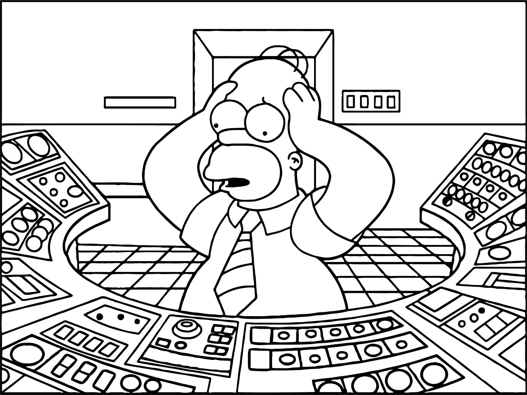 Homer Panic Coloring Page