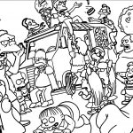 Ice Cream Riot The Simpsons Coloring Page