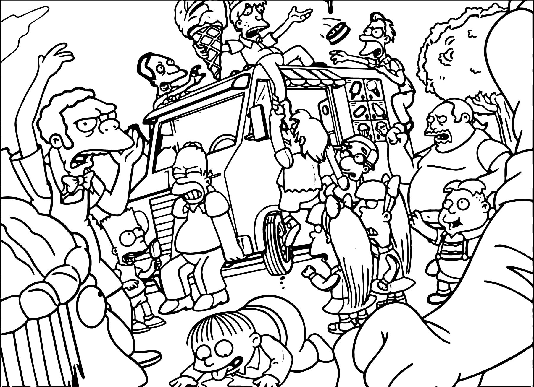 ice cream riot the simpsons coloring page - The Simpsons Colouring Pages