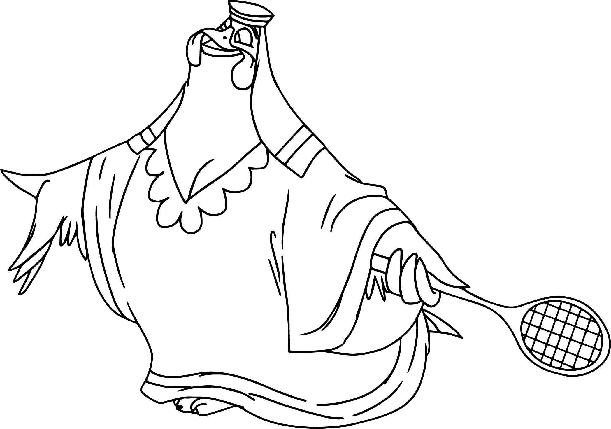 Lady Kluck Playing Tennis Coloring Page