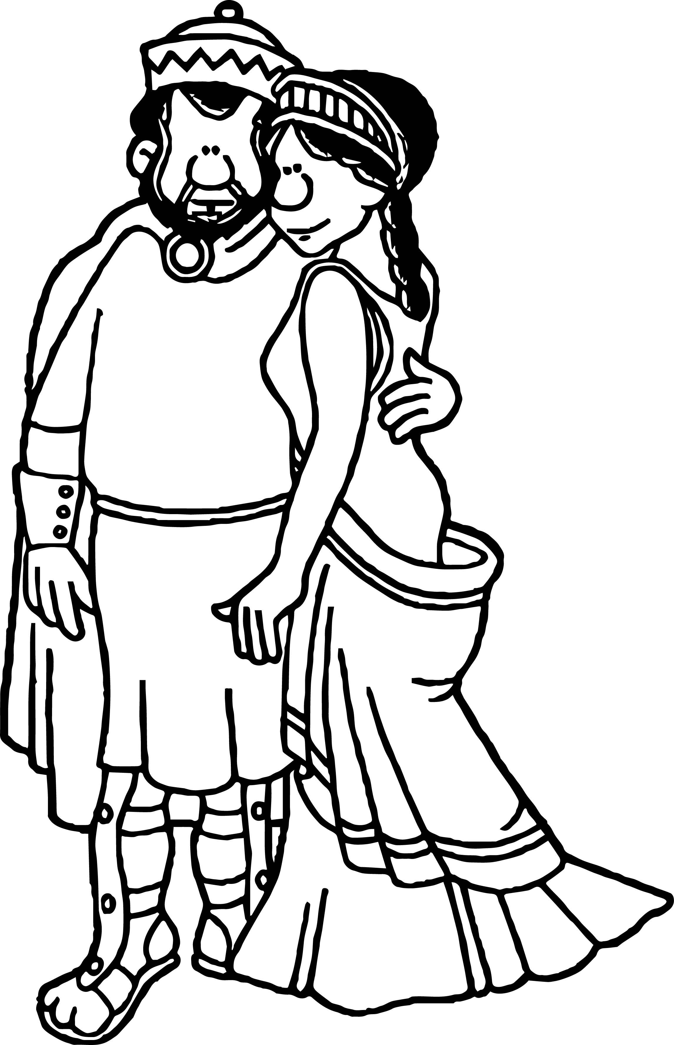 Roman Couple Coloring Page