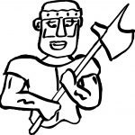 Roman Soldier Axe Coloring Page