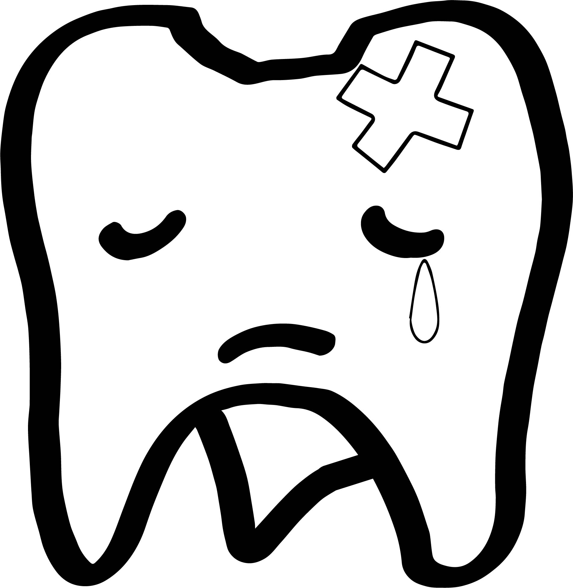 Sad Tooth Dental Coloring Page