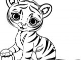 Small Cute Tiger Coloring Page