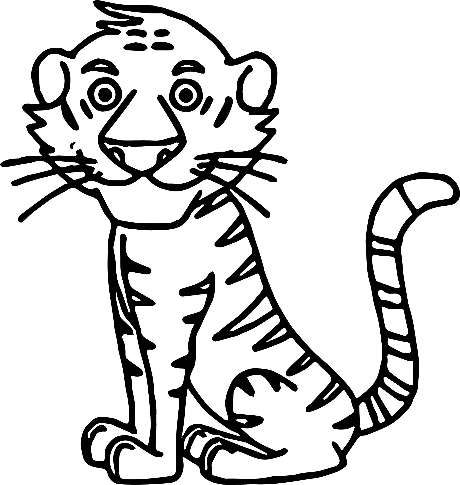 Tiger Sitdown Coloring Page