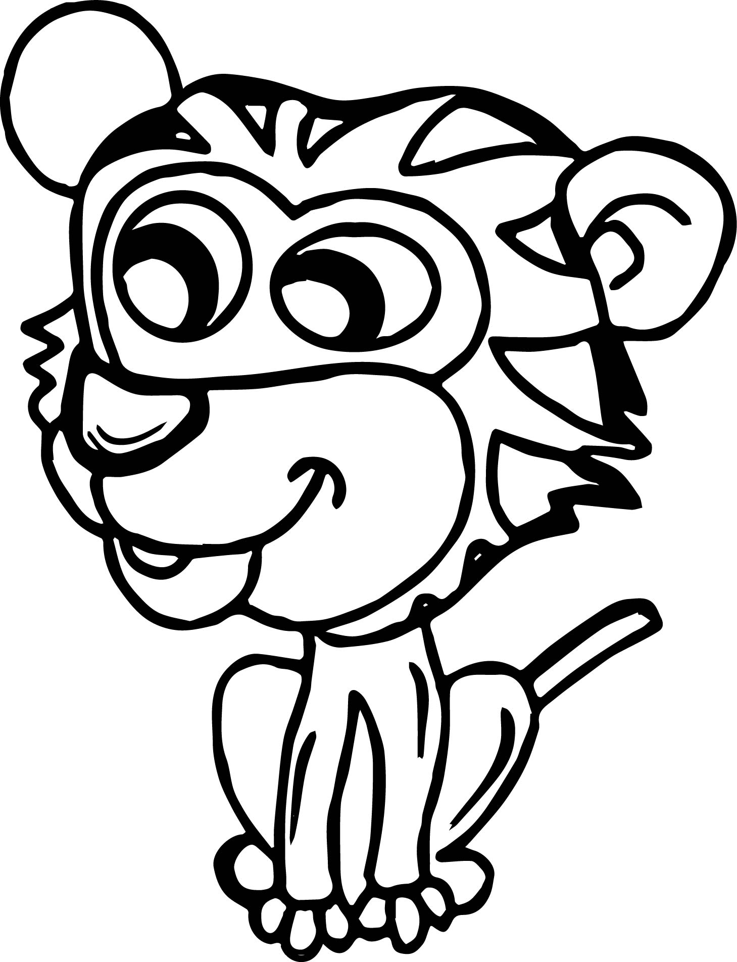 Very Small Kids Tiger Coloring Page