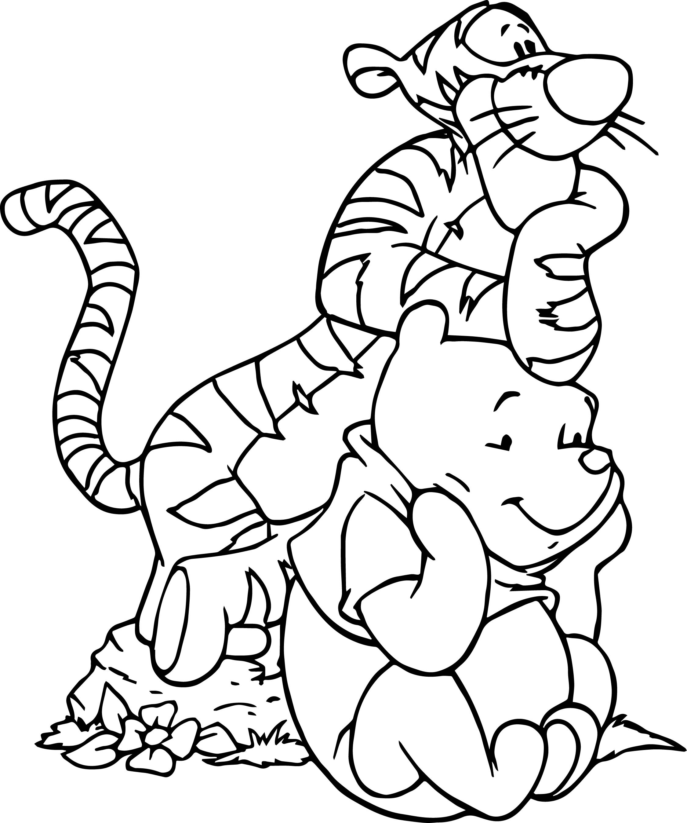 Winnie The Pooh And Tigger Together Coloring Page