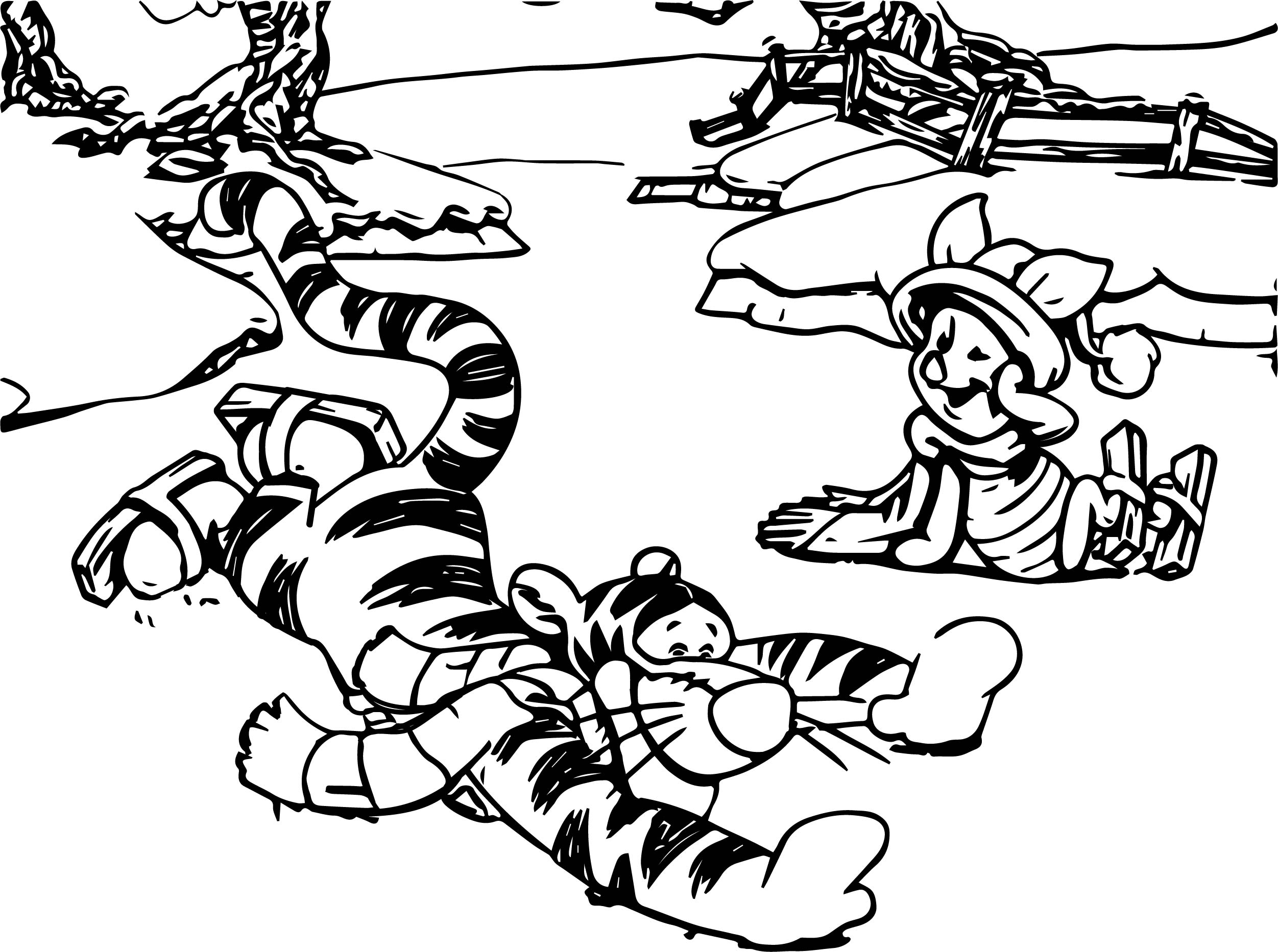 Winnie The Pooh Joy Snow Coloring Page