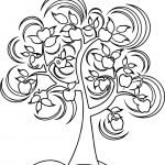 A Beautiful Apple Tree In Full Bloom And Blowing In The Fall Season Wind Coloring Page