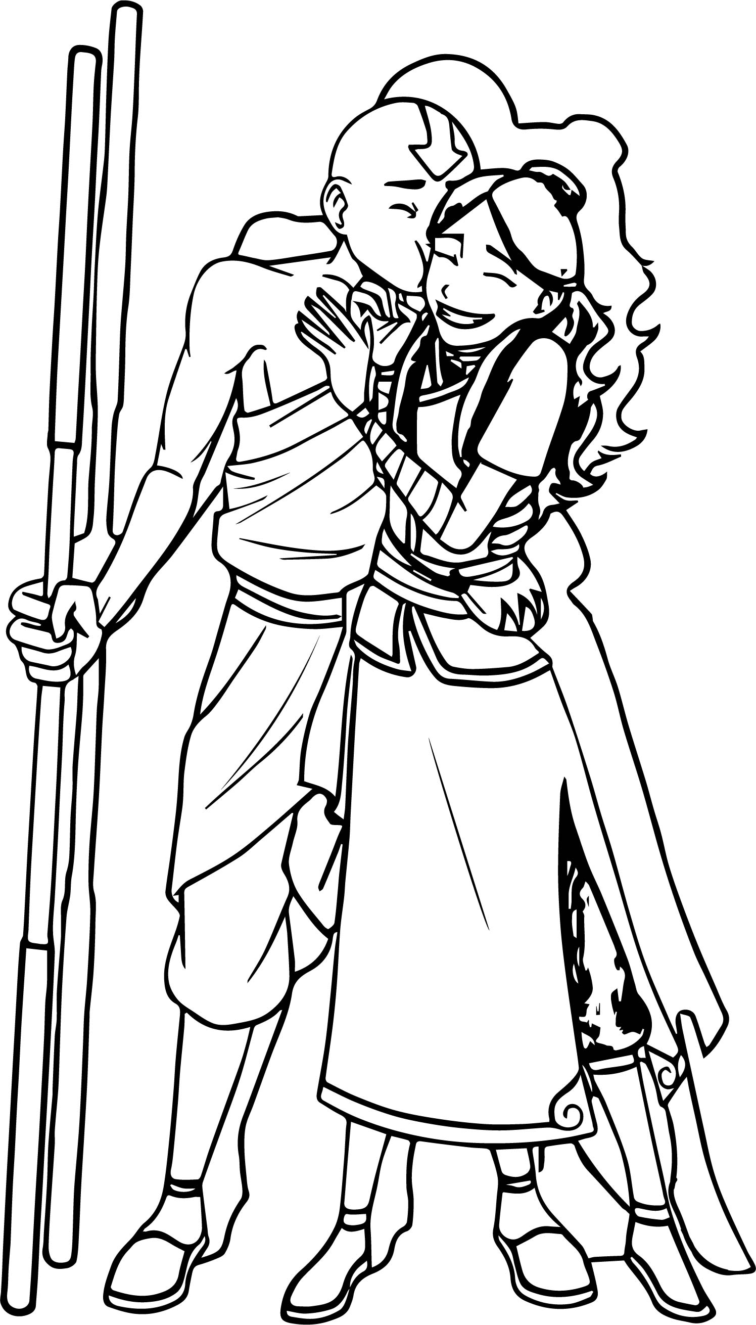 Aang And Katara Fro Cho Avatar Coloring Page
