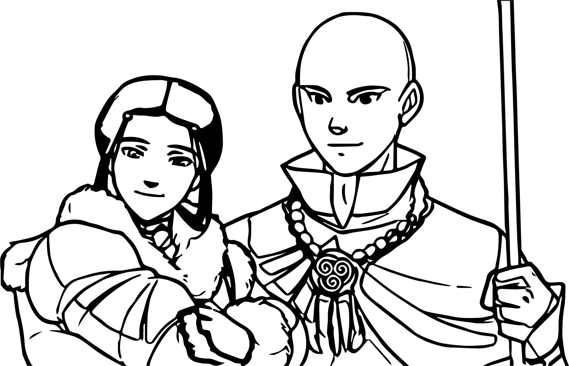 Aang And Katara's Future Avatar Aang Coloring Page