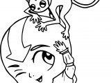 Aang And Momo Day Silent Haze Avatar Coloring Page