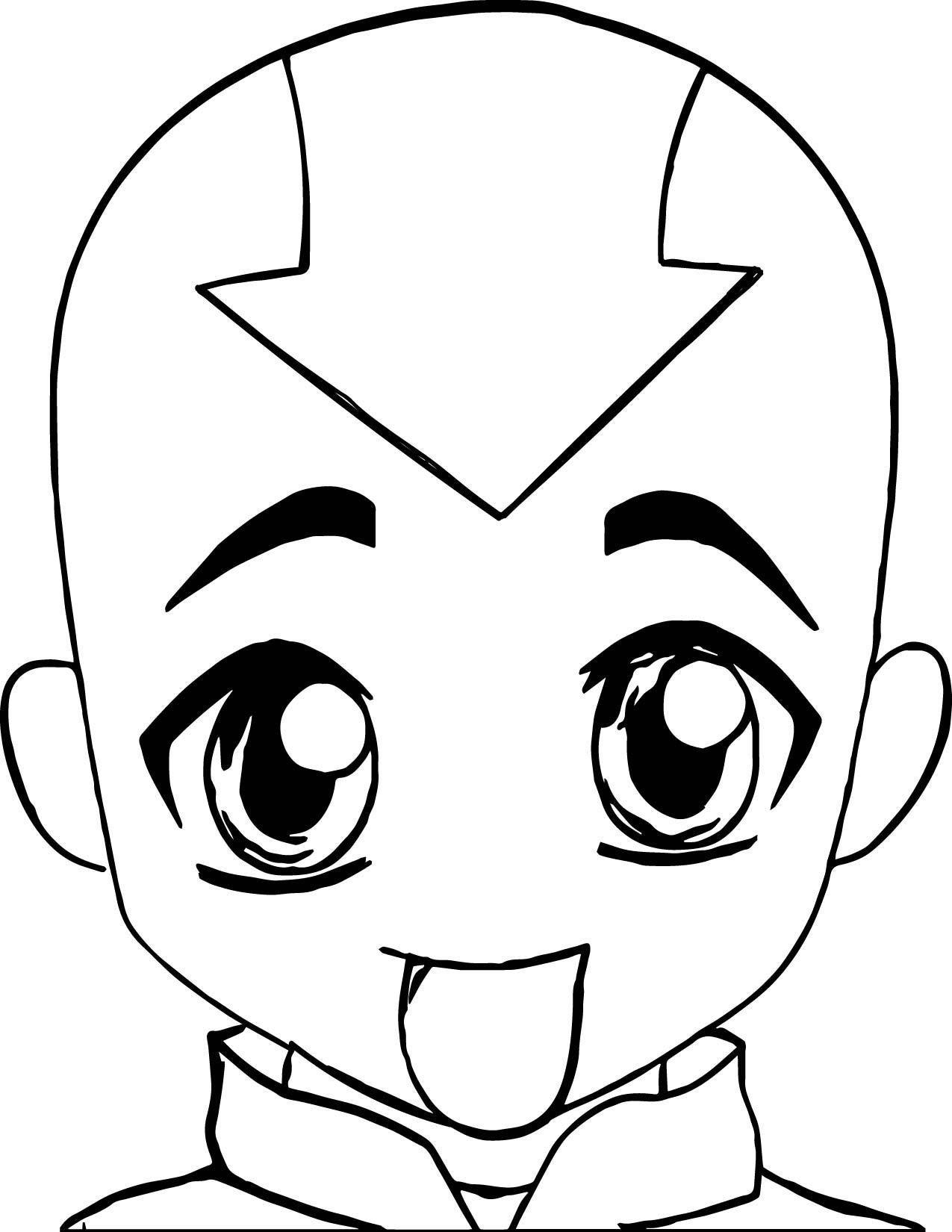 Aang Chibi Luv Sunshine Avatar Coloring Page