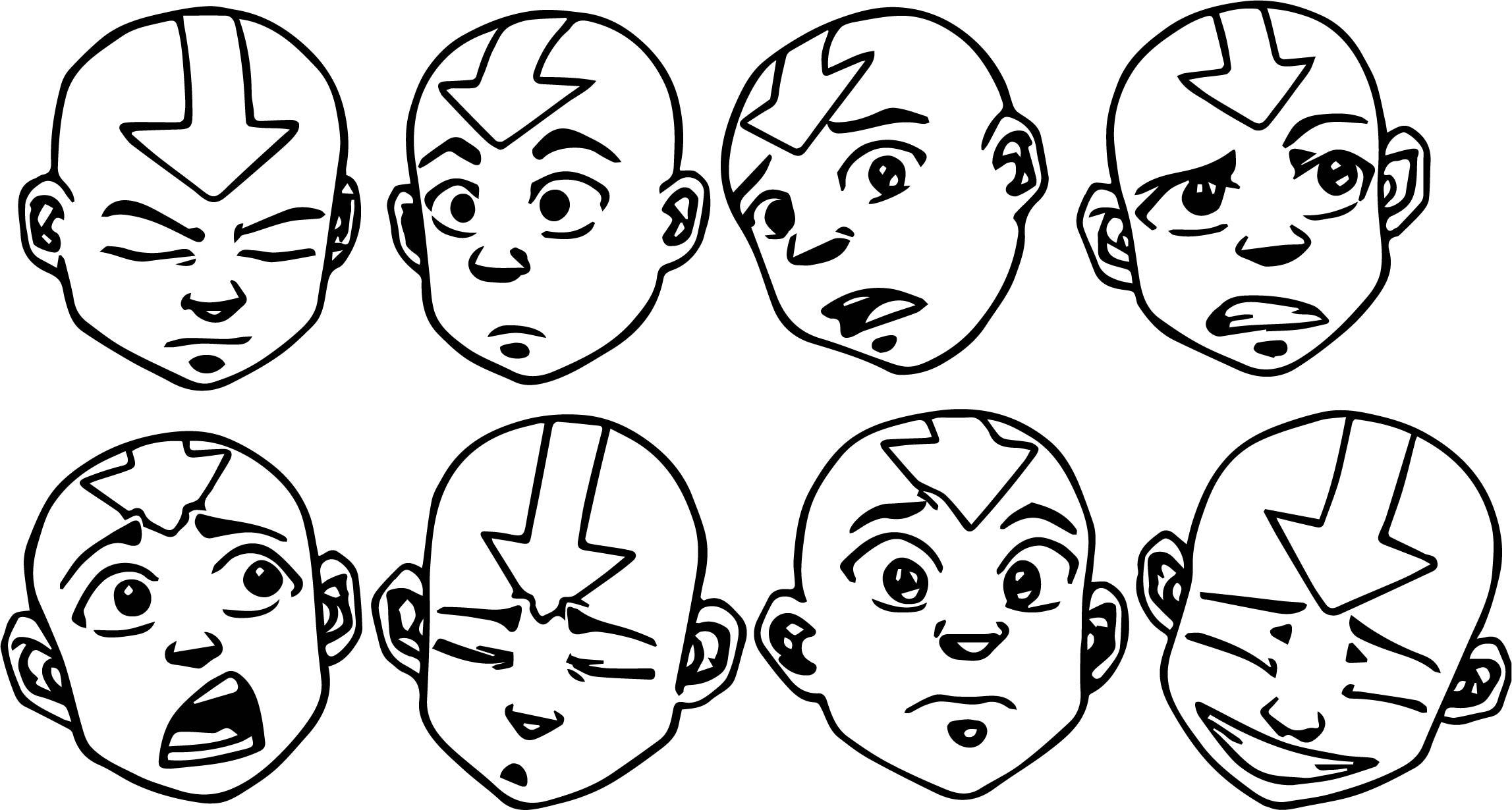 Aang Face Studies Avatar Aang Coloring Page
