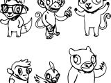 Animal Characters Design Coloring Page