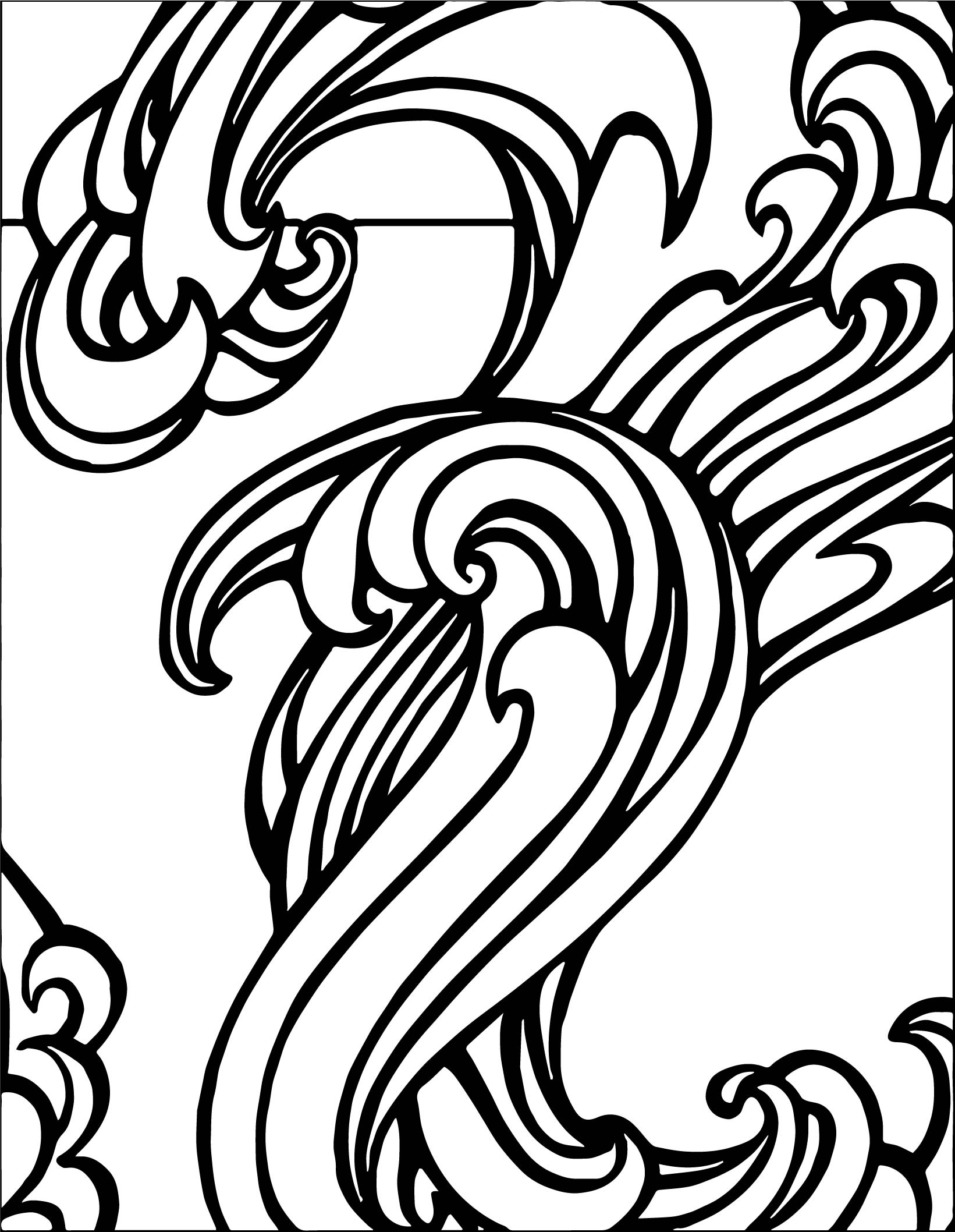 Any Surf Wave Coloring Page Black White