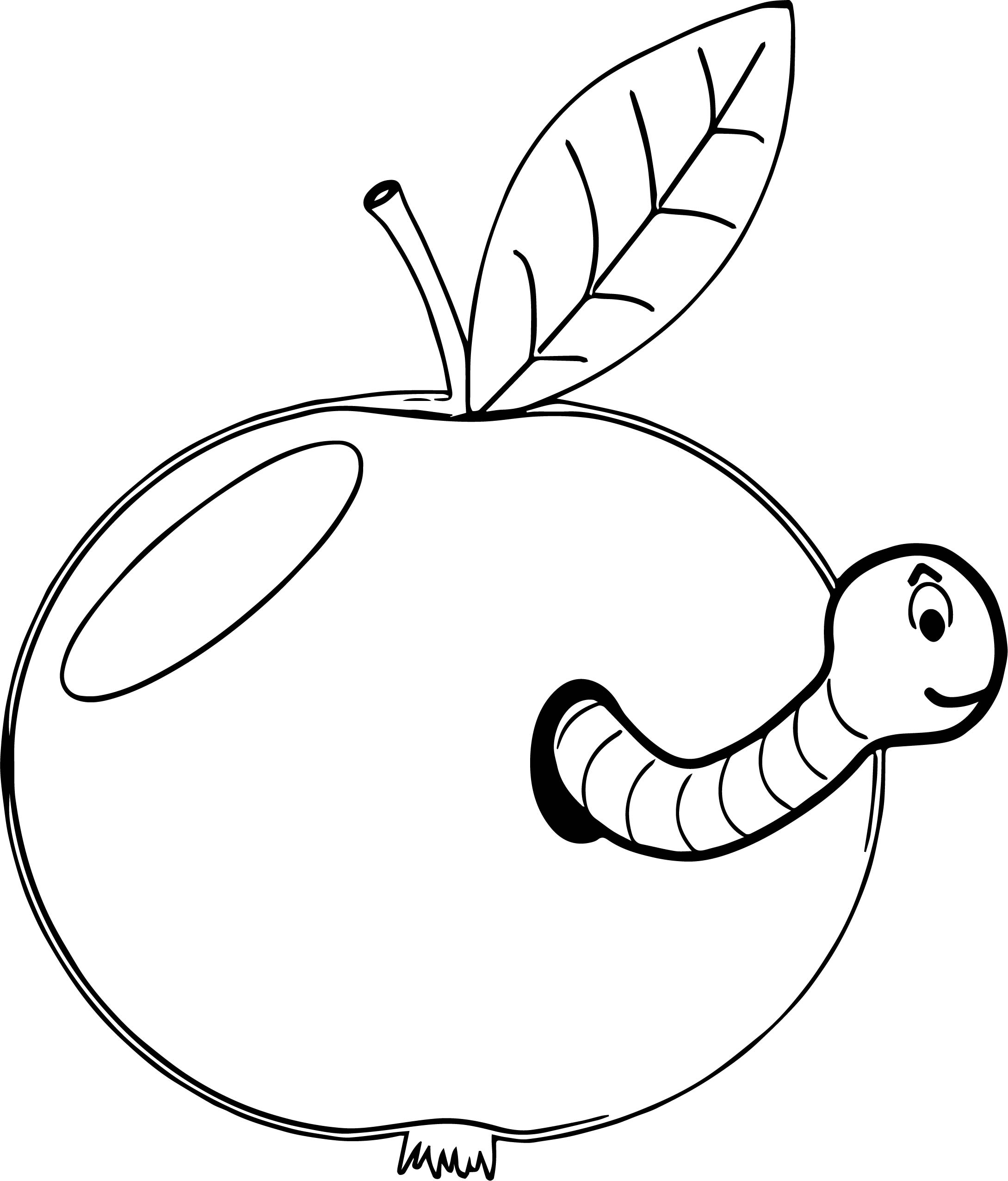 apple and worm coloring page wecoloringpage com