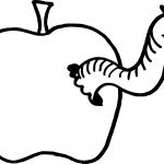 Apple And Worm Small Coloring Page