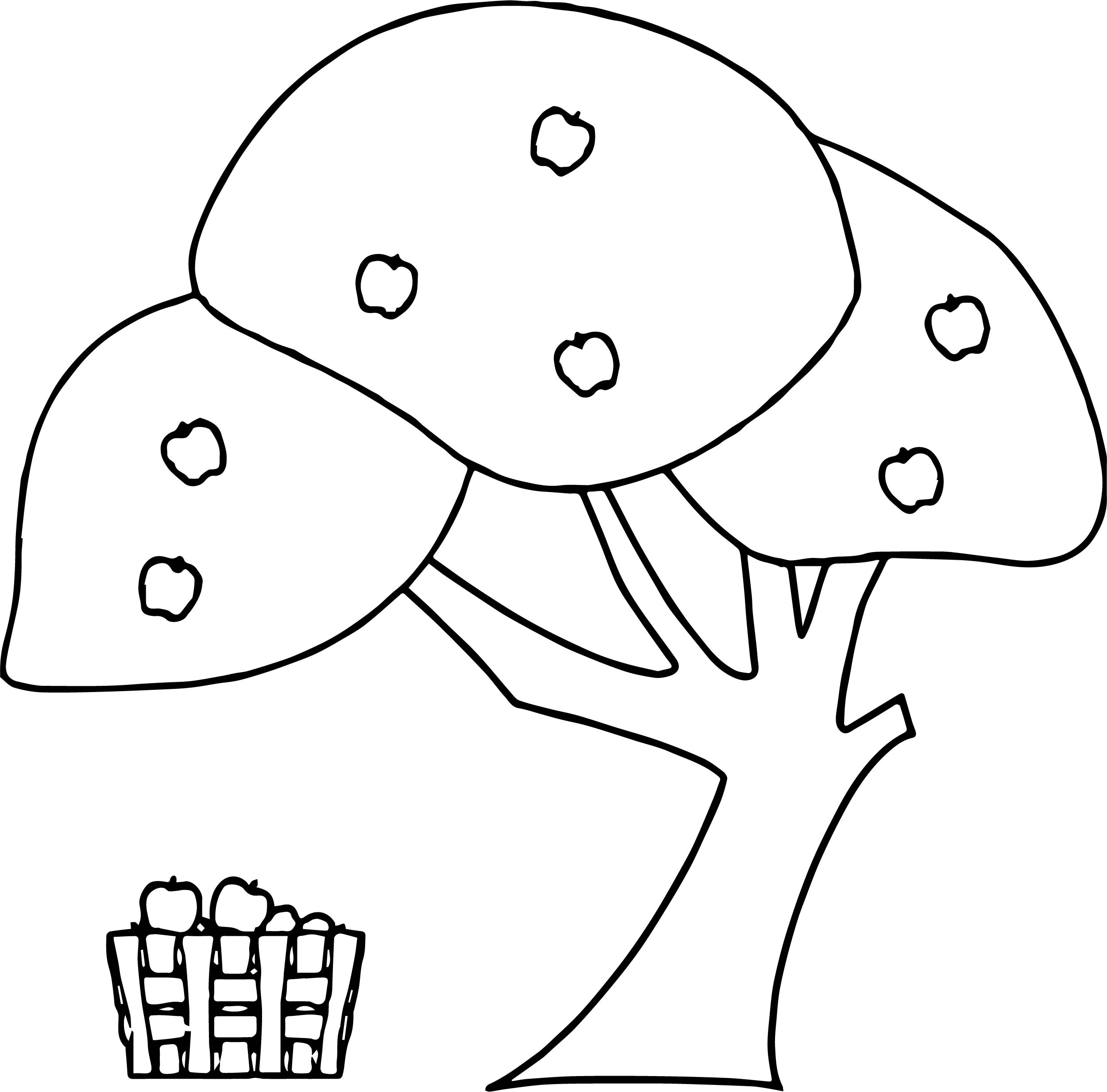 Apple Tree Basket Coloring Page