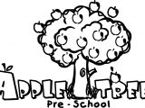 Apple Tree Pre School Coloring Page