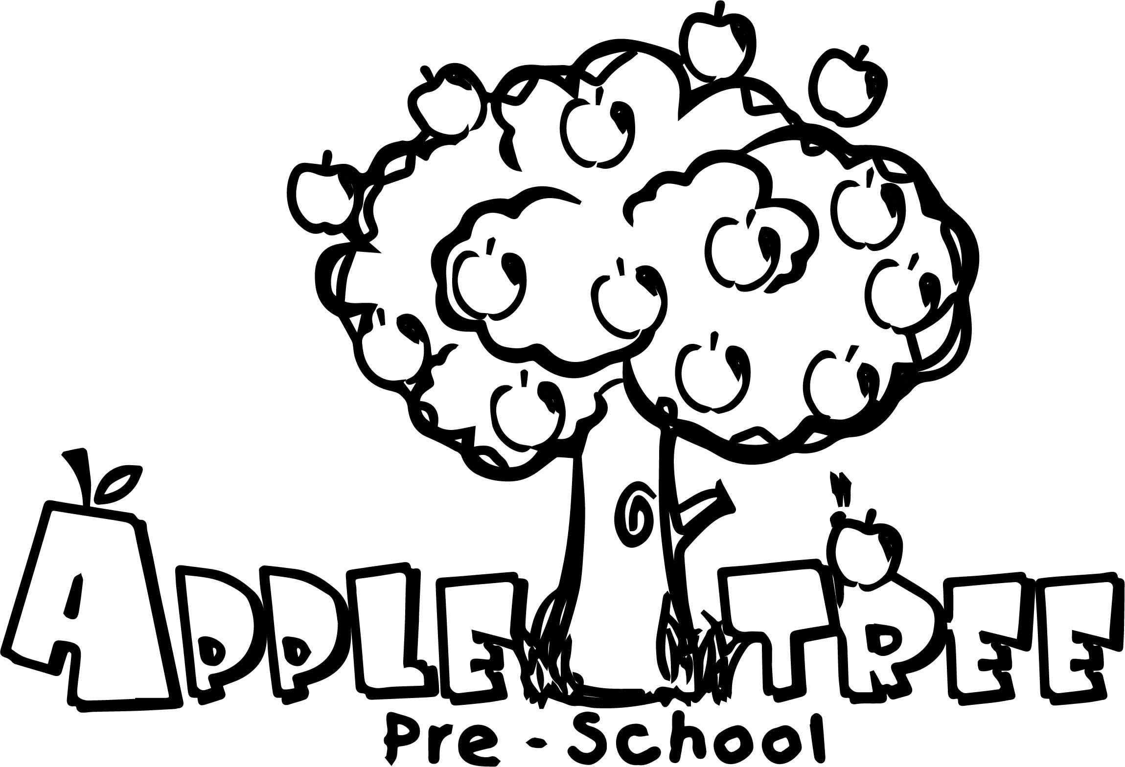 Apple Tree Pre School Coloring Page