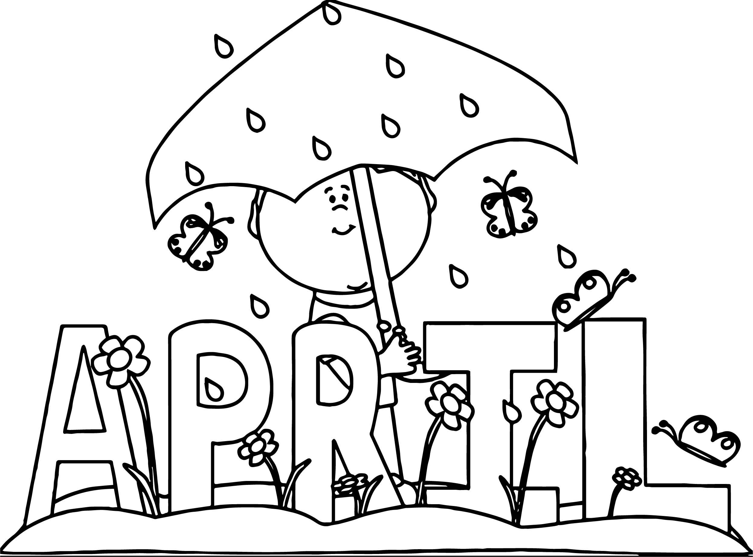 April Shower April Boy Coloring Page