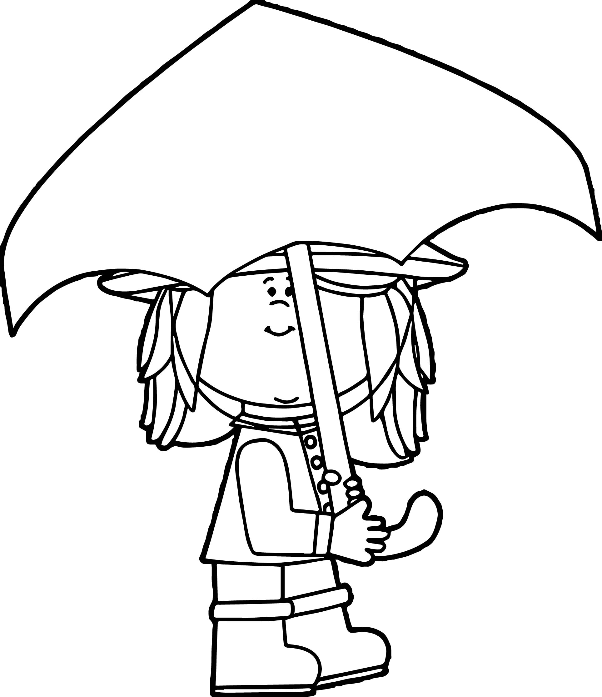 April Shower Cute Girl Coloring Page