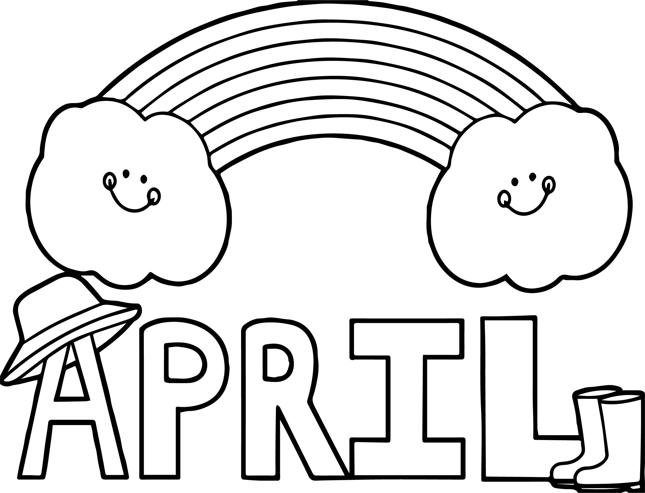 April Shower Text And Cloud Coloring Page