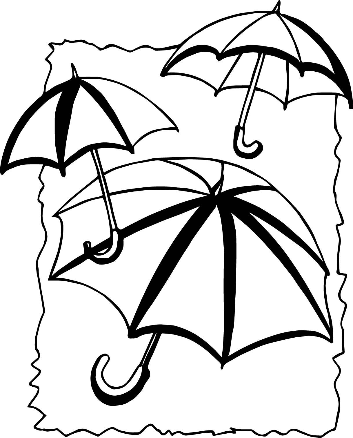 April Shower Umbrellas Coloring Page