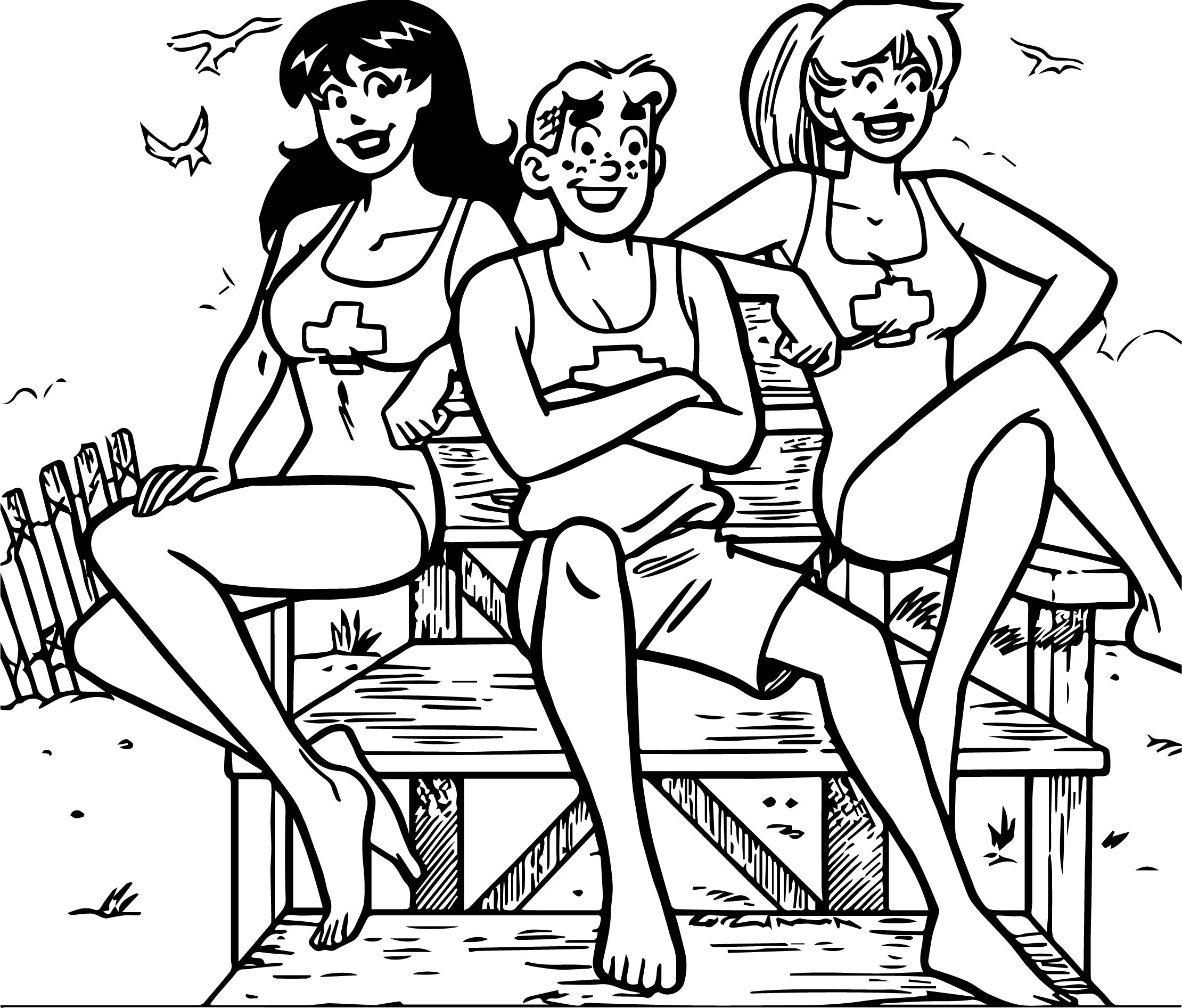Archie Comics And Girls At Beach Coloring Page