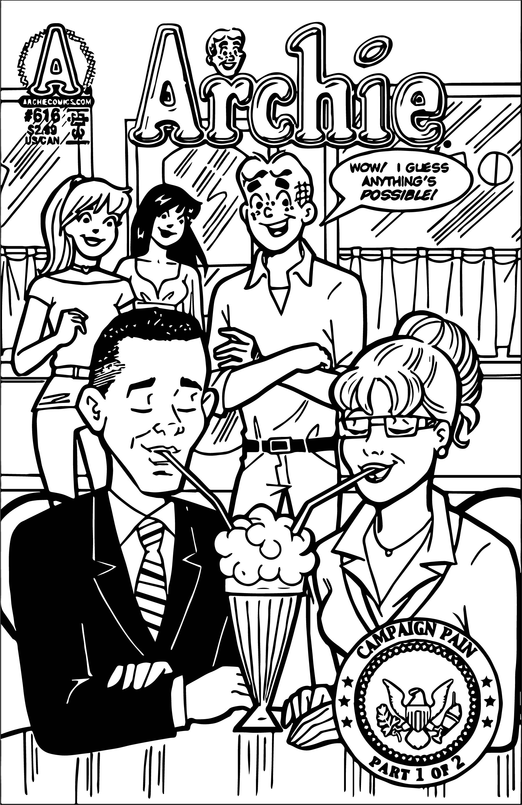 archie coloring pages - archie palin obama issue coloring page