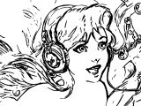 Ariel Mermaid Artwork Blue Eyes Bubbles Disney Headphones Coloring Page