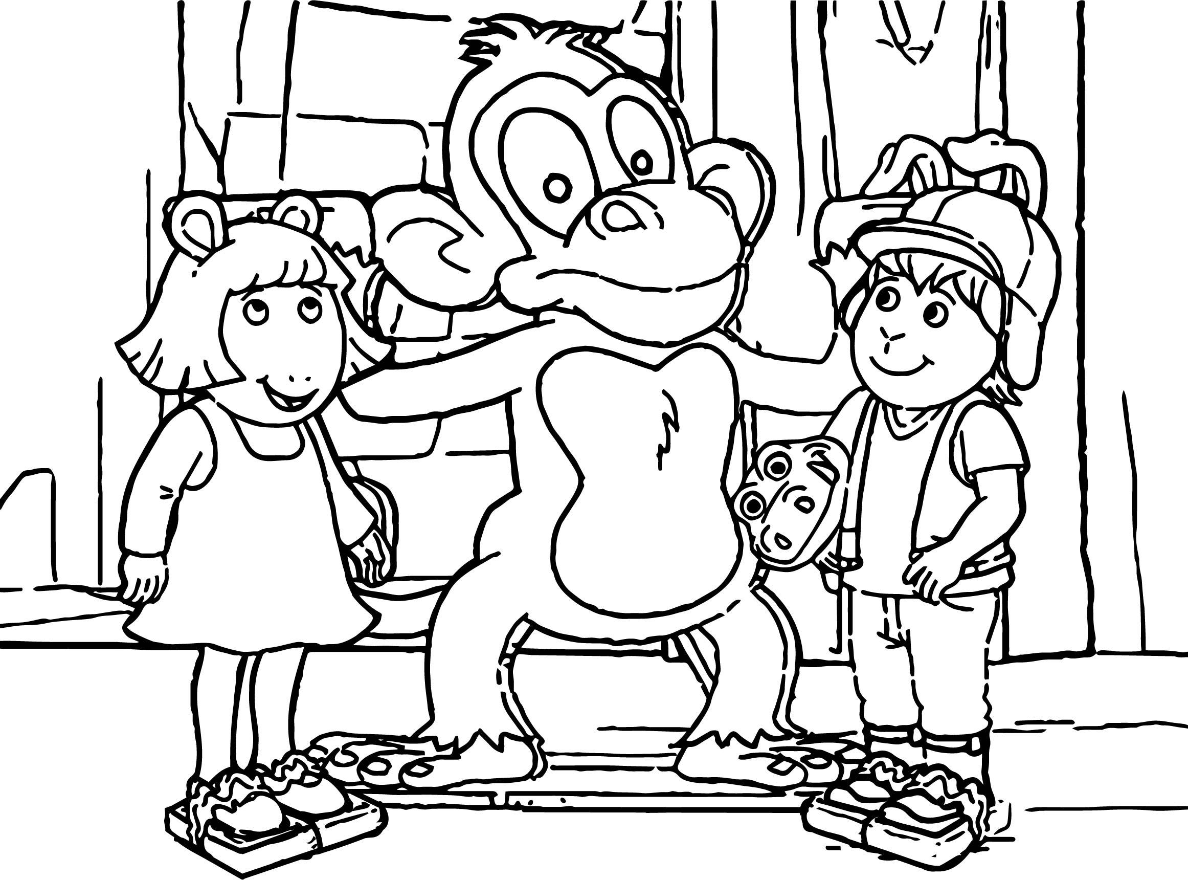 Arthur Monkey Friends Coloring Page