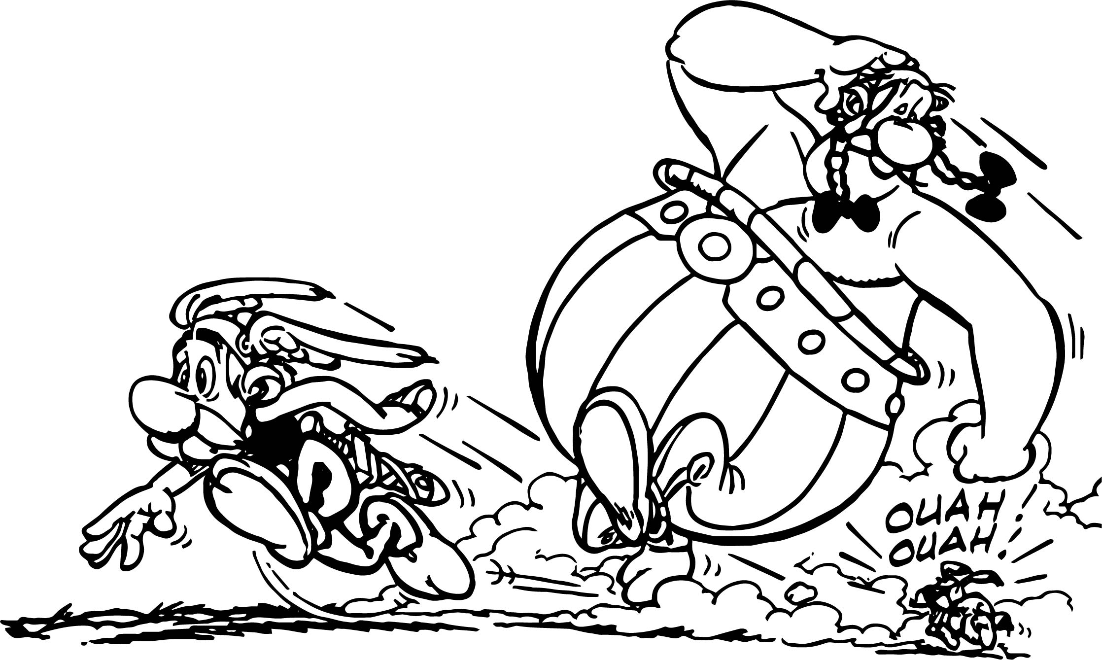 Asterix And Obelix Run Dog Coloring Page