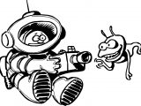 Astronaut And Alien Camera Coloring Page