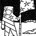 Astronaut Black Space Man On Moon Flag Coloring Page