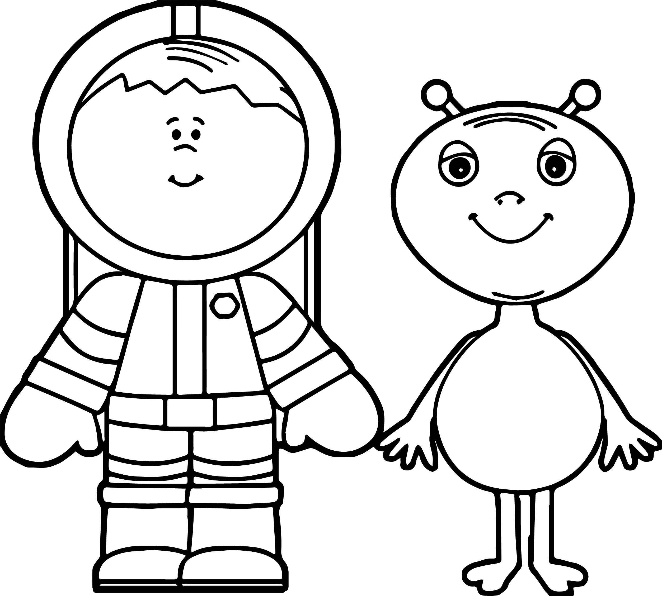 Astronaut Boy And Alien Coloring Page