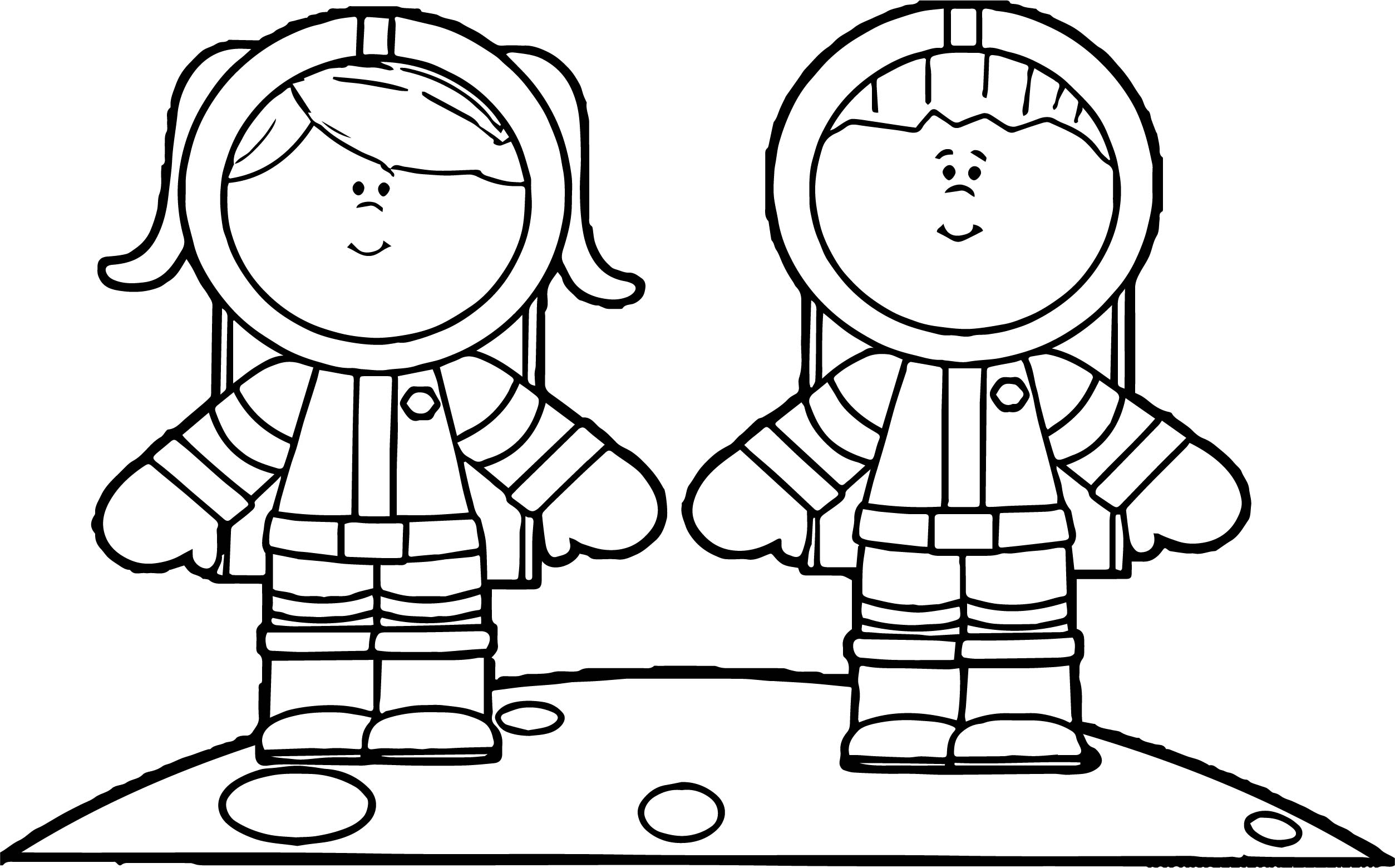 Astronaut Boy Girl Coloring Page