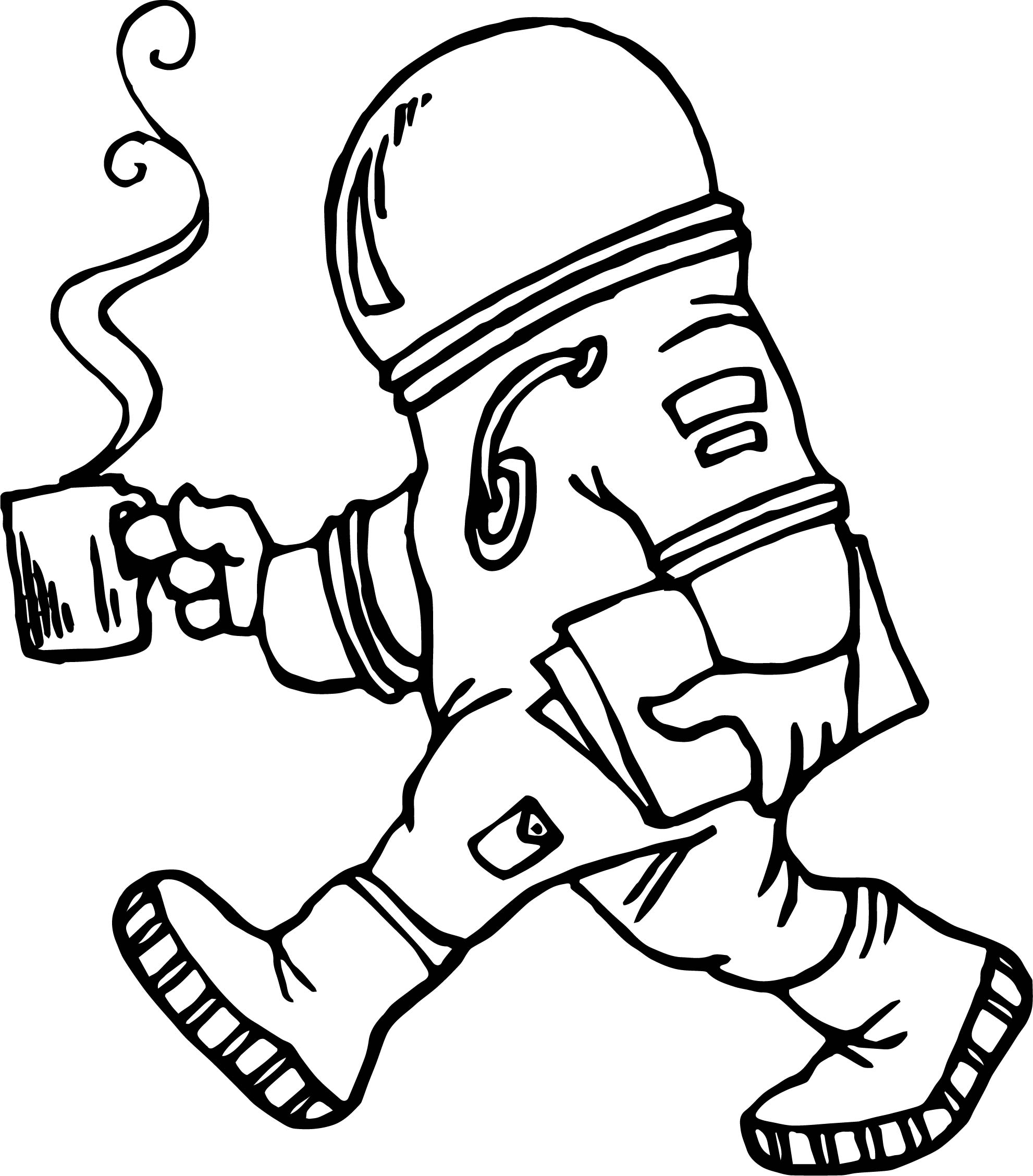 Astronaut Coffee Coloring Page