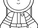 Astronaut Cute Girl Coloring Page
