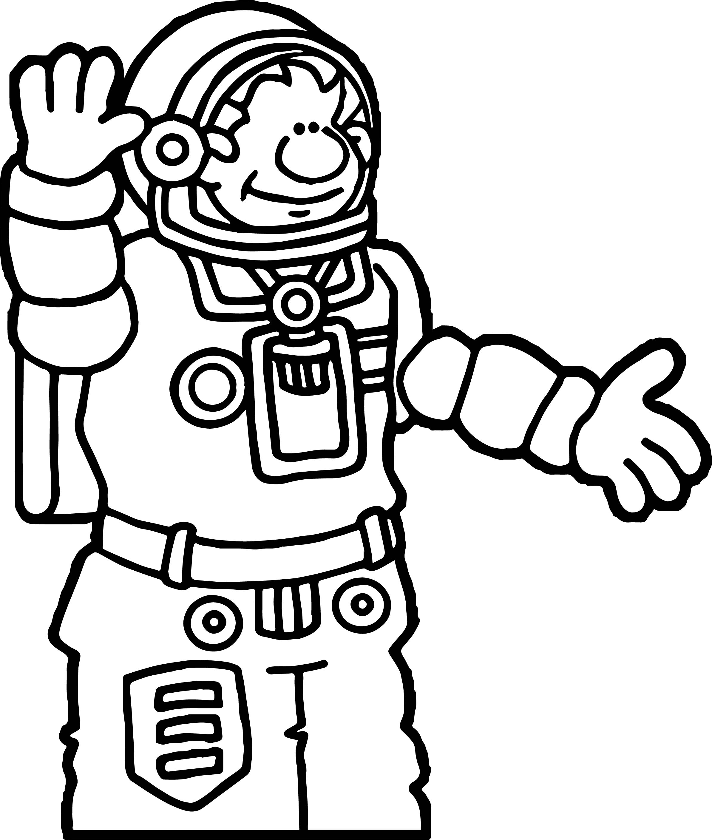Astronaut Hello Coloring Page