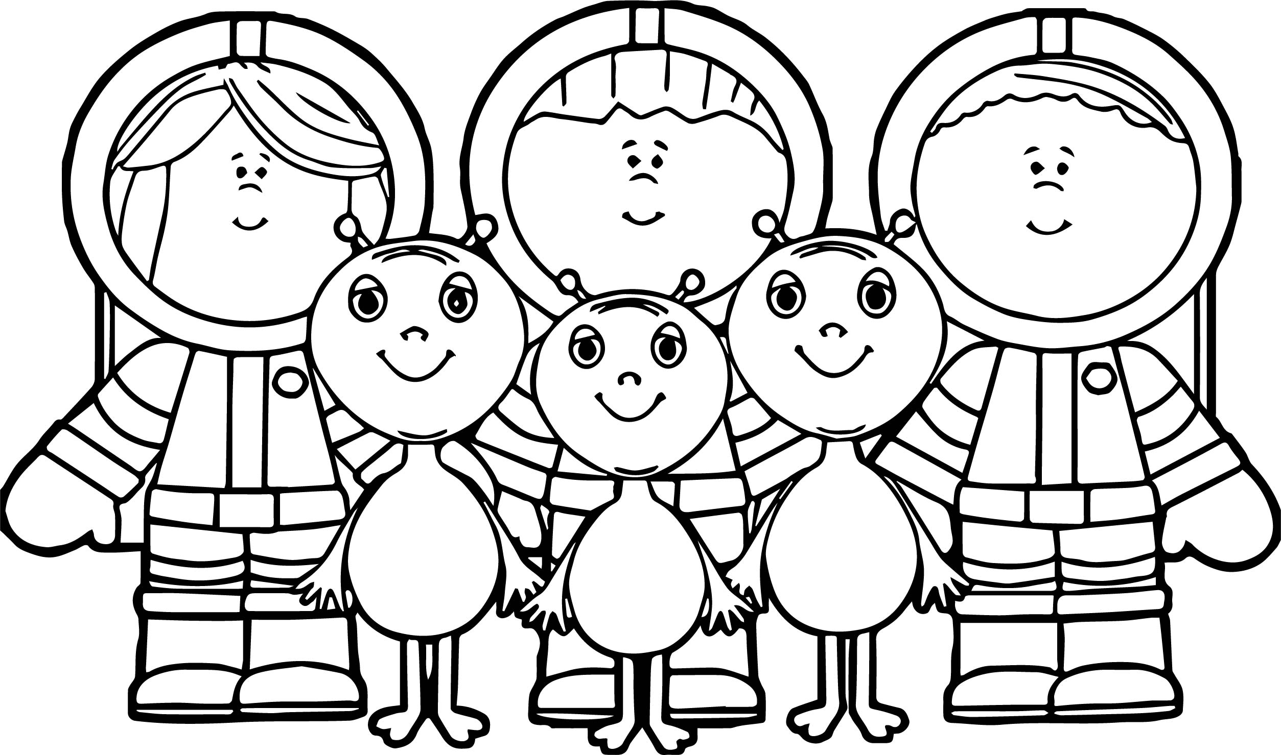 Astronaut Kids And Aliens Coloring Page