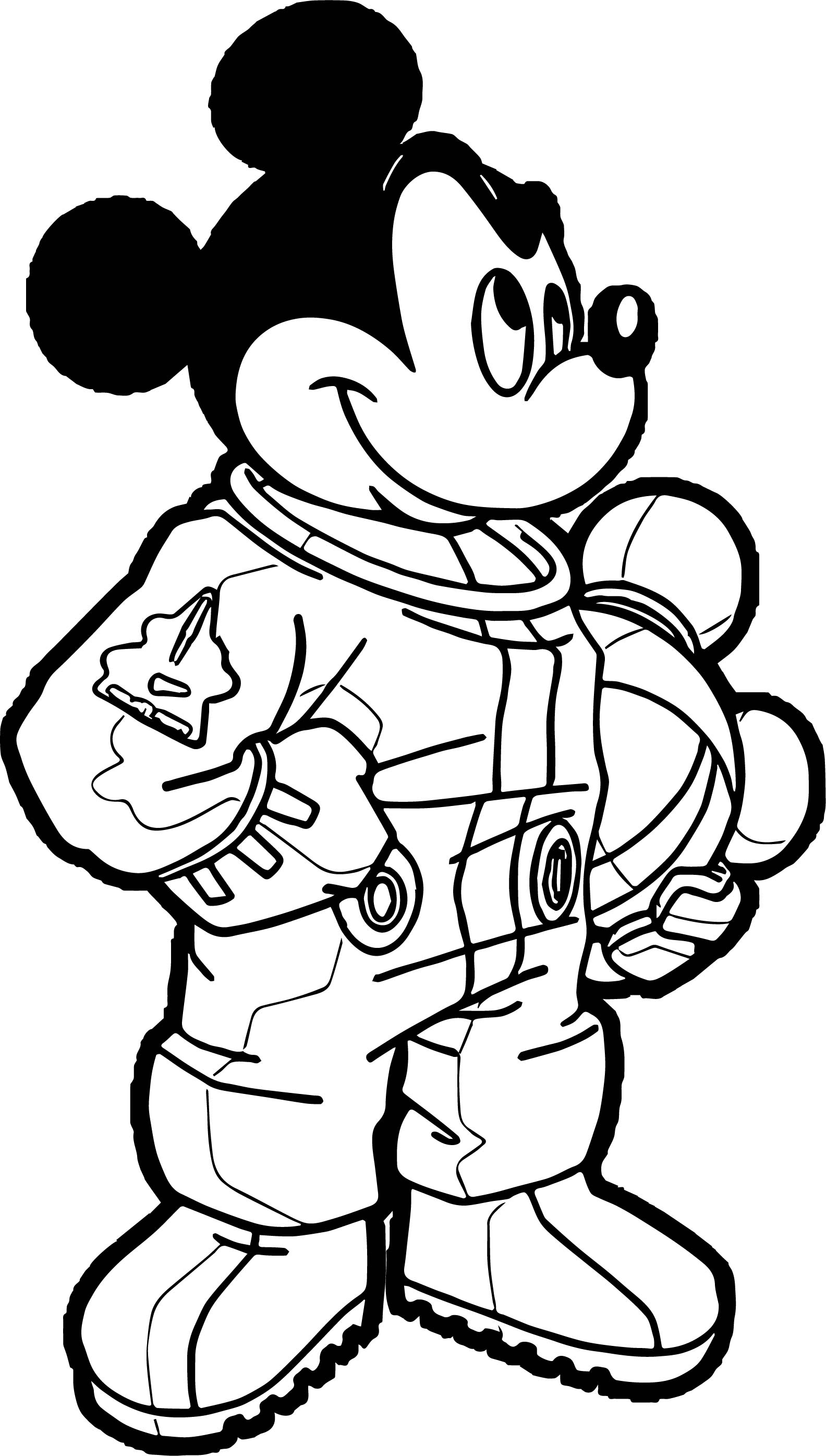 astronaut mickey mouse coloring page wecoloringpage
