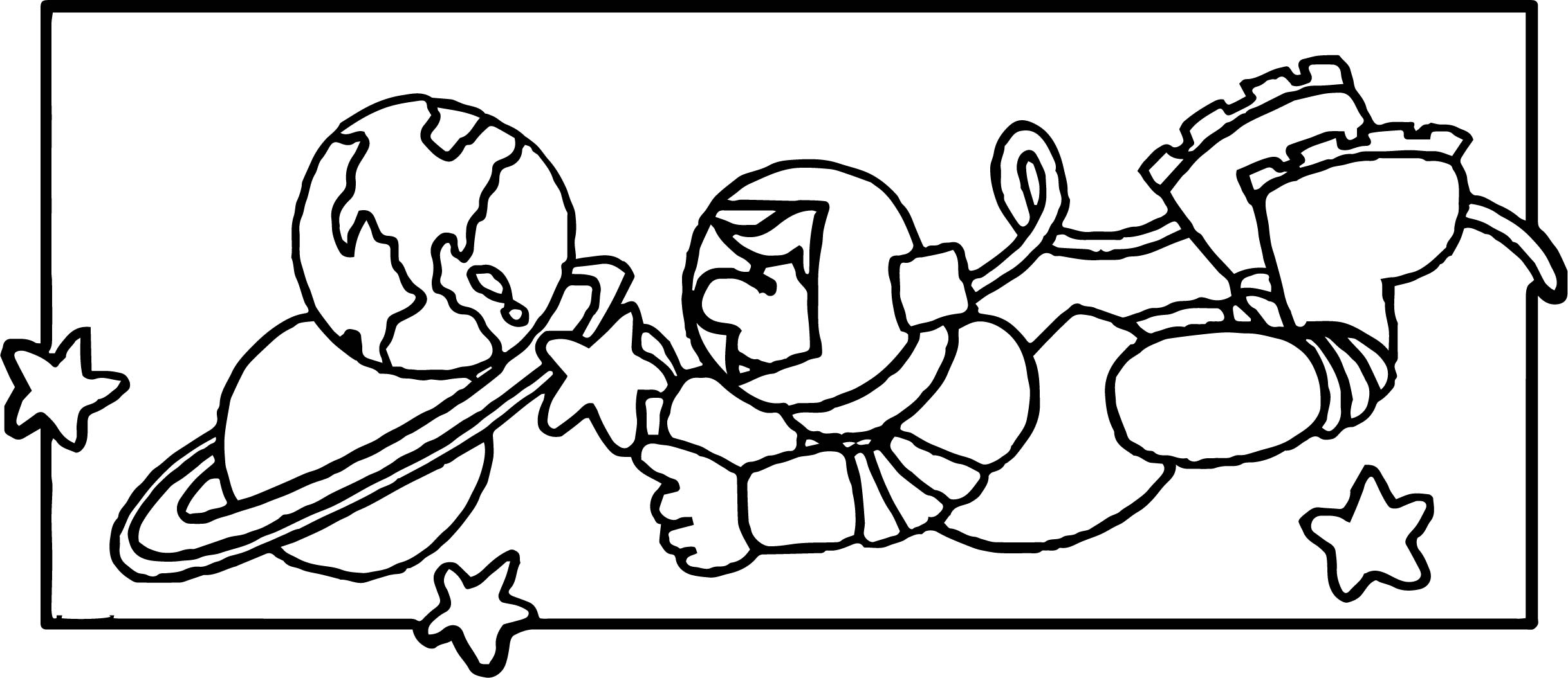 Astronaut On Space Coloring Pages